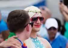Couple at Gay pride parade in Sitges Royalty Free Stock Images