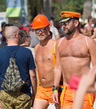 Couple during  Gay pride parade in Sitges Stock Photo