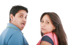 Couple get caught. What were they up to? Royalty Free Stock Image