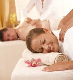 Couple getting back massage Royalty Free Stock Photos