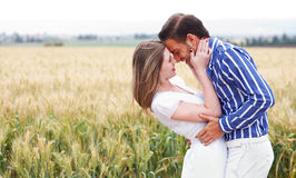 Couple getting close in romance Royalty Free Stock Image