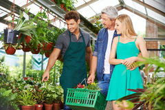 Couple getting consultation in nursery shop. From a gardener stock photos