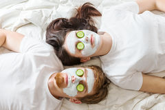 Couple getting homemade mask Royalty Free Stock Photo