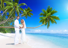 Couple Getting Marriage on the Beach Royalty Free Stock Photos