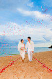 Couple Getting Married. An attractive bride and groom getting married by the beach Royalty Free Stock Photography