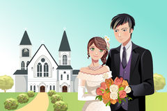 Couple getting married. A vector illustration of a couple getting married in front of a church Stock Photos