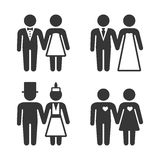 Couple Getting Married Icons Set. Vector. Illustration Stock Photo