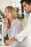 Couple getting ready Stock Photography