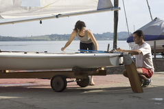 Couple Getting Ready to Sail - Horizontal Royalty Free Stock Photography