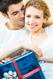 Couple with gift Stock Image