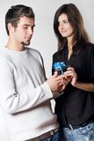 Couple with gift box. Young couple with gift box Stock Photos