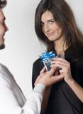 Couple with gift box Stock Photography