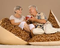 Couple with gift Stock Photography