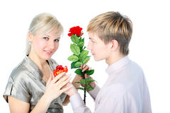 Couple with gift and flower Stock Photo