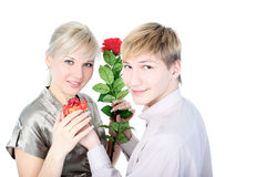 Couple with gift and flower Stock Photography