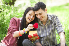 Couple with gift at green grass Stock Images