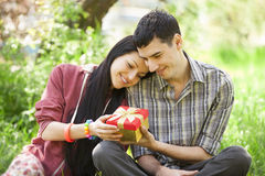 Couple with gift at green grass Stock Photography