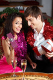 Couple with gifts Royalty Free Stock Photos