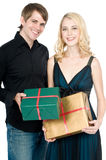 Couple with Gifts Royalty Free Stock Photo