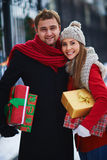 Couple with gifts Stock Photography