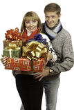 Couple with gifts Stock Image