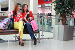Couple girl friend shopping mall Royalty Free Stock Photo