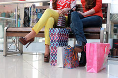 Couple girl friend shopping mall Stock Photo