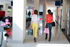 Couple girl friend walking and shopping mall Stock Image