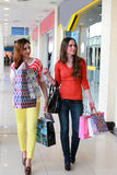 Couple girl friend walking and shopping mall Royalty Free Stock Photo