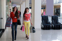 Couple girl friend walking and shopping mall Stock Photography