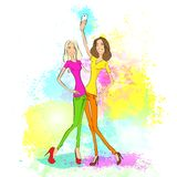 Couple girl friends taking selfie photo on smart Royalty Free Stock Photos
