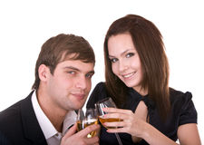 Couple of girl and man. Stock Photos