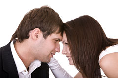 Couple of girl and man.Isolated Stock Image