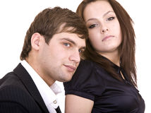 Couple of girl and man. Isolated. Stock Photo