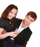 Couple of girl and man kiss and drink wine. Stock Image