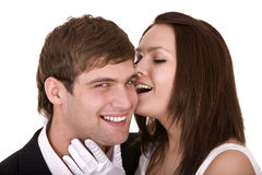 Couple of girl and man kiss. Love . Royalty Free Stock Images