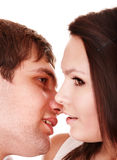 Couple of girl and man kiss. Love. Stock Images