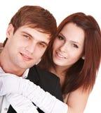 Couple of girl and man kiss. Love. Stock Photos