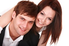 Couple of girl and man. Love. Royalty Free Stock Photography