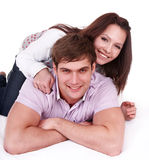 Couple of girl and man. Love. Stock Photos