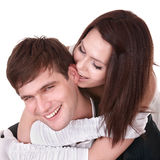 Couple of girl and man. Love. Stock Photo