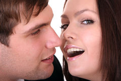 Couple of girl and man. Love. Royalty Free Stock Image