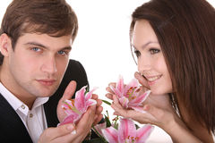 Couple of girl and man. Love. Stock Image
