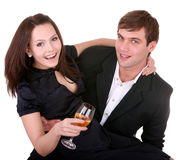 Couple of girl and man. Love. Royalty Free Stock Photos
