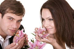 Couple of girl and man. Love and passion. stock photos