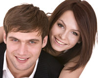 Couple of girl and man. Love and passion. Stock Image