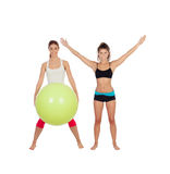 Couple of girlfriends with fitness clothes Royalty Free Stock Photos