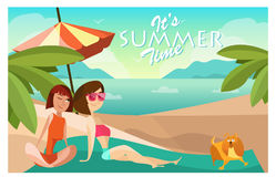 Couple girls on a beach cartoon vector illustration. Summer vacation concept poster in cartoon style. People characters. And dog Stock Image
