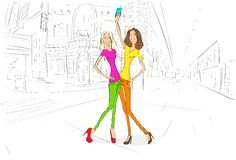 Couple girls friends taking self photo picture stock illustration