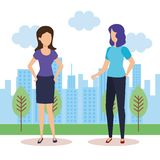 Couple of girls in the landscape stock illustration